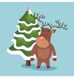Reindeer animal christmas icon vector