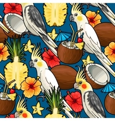 Seamless cockatoo and tropical cocktail vector image vector image