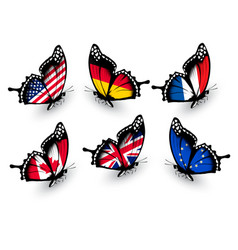 Set of butterflies with different flags vector