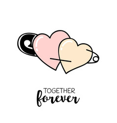 Together forever hand drawn greeting card vector