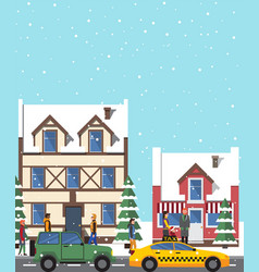 Winter view buildings poster vector
