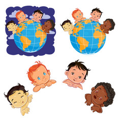 Young children of with different skin color vector