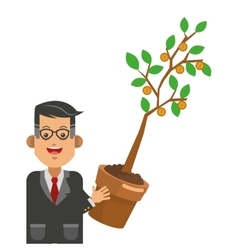 Businessman holding sprout icon vector