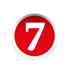 Number seven red label vector image