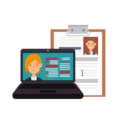 Laptop computer and curriculum vitae vector