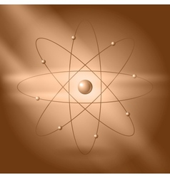 Orbital model of atom on brown background vector