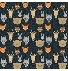 Seamless pattern with animals and traces vector