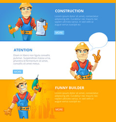 Set of builders or handymans in action vector