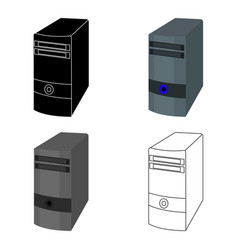 Computer case icon in cartoon style isolated on vector