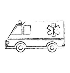 Black blurred silhouette cartoon ambulance truck vector