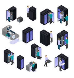 People in data center isometric set vector