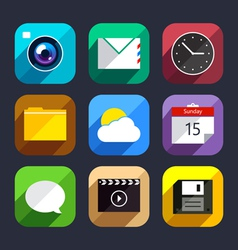 Flat app icons set vector