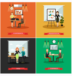 Set of business people square posters in vector