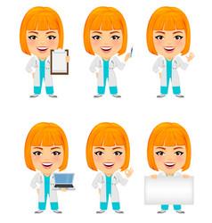 Medical doctor woman set funny cartoon character vector