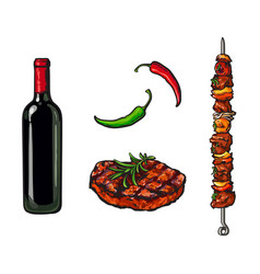 Bbq elements - wine bottle steak meat of stick vector
