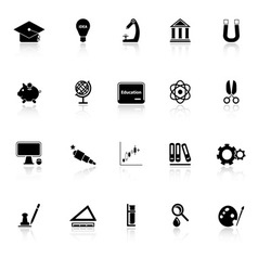 Education icons with reflect on white background vector