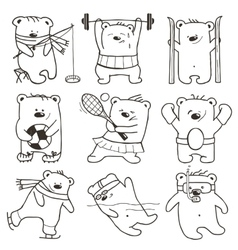 Cartoon sport bears oulines collection vector