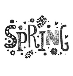 Lettering spring with decorative floral elements vector
