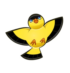 Flying yellow bird vector
