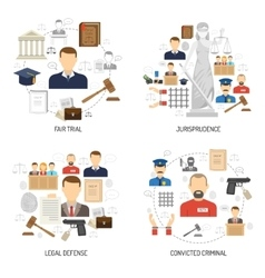 Justice 4 flat icons square banner vector image