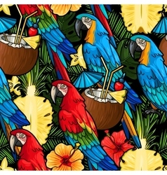 Macaw and tropical cocktail seamless vector image