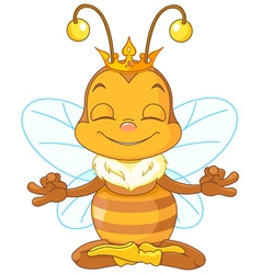 Meditating queen bee vector