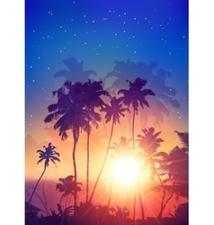 Retro style sunset with palm silhouettes poster vector