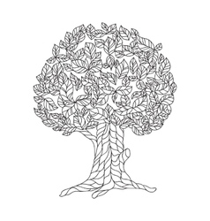 Page of coloring book with lace tree vector