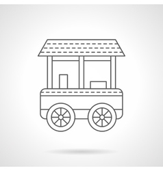 Wheel bagel cart flat thin line icon vector
