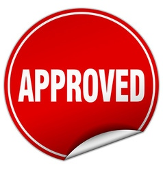 Approved round red sticker isolated on white vector