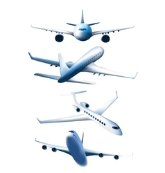 Set of airplanes in different foreshortening vector