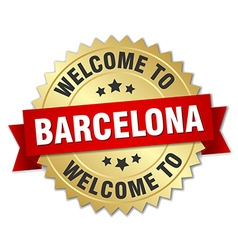 Barcelona 3d gold badge with red ribbon vector