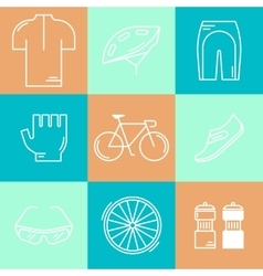 Set of 9 Bicycle Race modern linear icons vector image