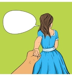 Man follows the girl and holding her hand vector