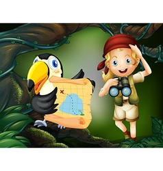 A girl with a telescope and a bird with a map vector image vector image
