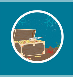 Badge with treasure chest on sea bottom vector