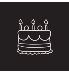 Birthday cake with candles sketch icon vector image vector image