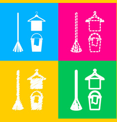 Broom bucket and hanger sign four styles of icon vector