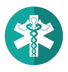 caduceus medicine care symbol shadow vector image