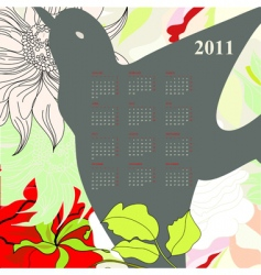 calendar for 2011 with bird vector image