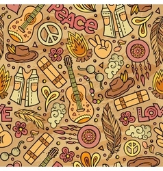Cartoon cute hand drawn hippie seamless pattern vector