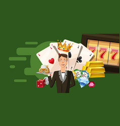 Casino croupier horizontal banner cartoon style vector