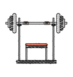 Color drawing pencil cartoon weight lifting vector