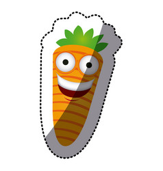 colorful kawaii happy carrot icon vector image