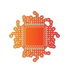 Cpu microprocessor orange applique vector