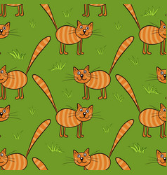 cute flat cats seamless pattern with vector image vector image