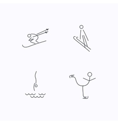 Diving figure skating and skiing icons vector image