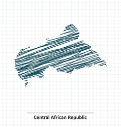 Doodle sketch of central african republic map vector