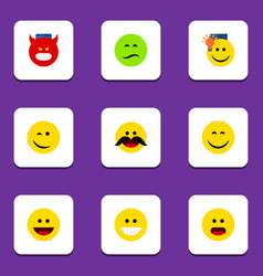 Flat icon emoji set of grin laugh smile and vector
