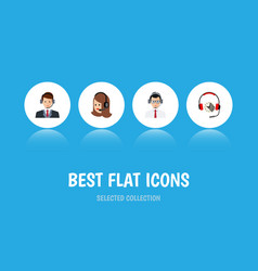 Flat icon telemarketing set of hotline service vector
